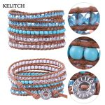 KELITCH <b>Jewelry</b> 1Pcs DIY <b>Handmade</b> Bohemian Crystal Bead Synthetic Mixed Friendship Bracelets 5 Wrap Leather Bracelet Luxury Pack