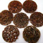 2pcs larger <b>Handmade</b> Ancient Jade Pendant Rare Animals Carved Jade Gemstone Bead 70mm(2.4″)