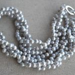 100% Real Pearl Necklace, Gray Color 18 Inches 4Rows 5-6mm Freshwater Pearl Necklace ,Perfect Lady's <b>Jewelry</b>,<b>Handmade</b>
