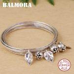 BALMORA 925 <b>Sterling</b> <b>Silver</b> Flower & Leaf Bangles for Women Gift Multi-layer Bohemia <b>Silver</b> Bracelet <b>Jewelry</b> Pulsera SZ0472