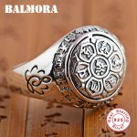 BALMORA Vintage 100% Real 925 Sterling Silver <b>Jewelry</b> Buddhistic Six Words' Mantra Rings for Women Men Lovers Gifts SY20992
