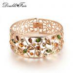 Multicolor Austria Crystal Big Hollow Bracelets & Bangles Rose Gold Color <b>Fashion</b> Rhinestone <b>Jewelry</b> For Women DFB007