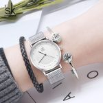 Shengke Luxury Watches Women Brand <b>Silver</b> Stainless Steel Quartz Watch Relojes Mujer 2018 Women Fashion Watches With <b>Bracelets</b>