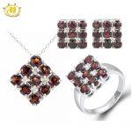 Hutang Stone Jewelry Sets Solid 925 Sterling <b>Silver</b> Real Garnet Fine Gemstone Jewelry Ring <b>Earrings</b> & Pendant Women's Gift New