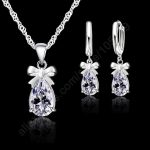 New Fashion 925 Sterling <b>Silver</b> Necklace <b>Earrings</b> Set With Clear Crystal Bow Tie Decoration Women Girls Party Engagement Jewelry