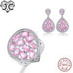 J.C Engagement Jewelry Women Water Drop Design Pink Topaz Ring & <b>Earring</b> Genuine Solid 925 Standard Sterling <b>Silver</b> Jewelry Set