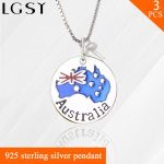 Australia Flag design nice gift accessories in 925 sterling <b>silver</b> for pearl pendant <b>necklace</b> 3pcs for party wearing