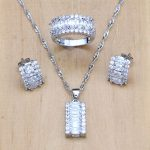 Mystic White Crystal <b>Jewelry</b> Sets 925 Sterling Silver <b>Jewelry</b> For Women Earrings/Pendant/Necklace/Ring Free Boite Cadeau