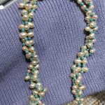 Women <b>Jewelry</b> 7x8mm Bright white pearl light blue stone mixed 3 rows necklace <b>handmade</b> real natural freshwater pearl gift