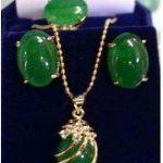 Natural gem Prett Lovely Women's Wedding <b>Jewelry</b> green gem pendant Necklace ring earring set>AAA GP Bridal wide watch wings