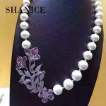 SHANICE Luxury Flower AAA Cubic Zirconia Crystal Rhinestone Silver Pendant Accessories DIY Pearl Beaded Necklace <b>Making</b> Findings