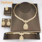 Hadiyana New Leaves Shape 4pcs <b>Jewelry</b> Dubai Luxury <b>Necklace</b> Bracelet Ring Earring Wedding Party Gift Big Shinning Classic CN130