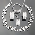SexeMara Women <b>Silver</b> 925 Costume Jewelry Sets For Wedding Earrings/Necklace/Ring Set With Round White Stones Free Christmas Box