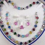 women's jewelry Multicolor Zircon Link Bracelet/ <b>Earrings</b> /Ring / Necklace Set <b>Silver</b> hook..wholesale shipping Free
