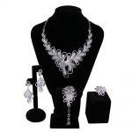 Luxury Women Bridal <b>Jewelry</b> Sets setting Cubic zircon 4pcs sets ( <b>necklace</b> + bracelet + earrings + ring) free shipping
