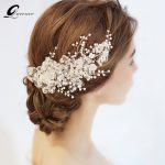 QUEENCO White Floral Bridal Headpiece Pearl Tiara <b>Wedding</b> Hair Accessories Hair Vine Handmade Hair <b>Jewelry</b> Bridesmaid Ornaments