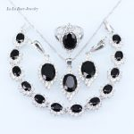 L&B Black Rhinestone White Crystal <b>silver</b> Color 925 Stamp Jewelry Sets For Women Earrings/Ring/Pendant Necklace/<b>Bracelets</b>