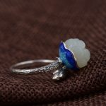 FNJ 925 <b>Silver</b> Jade Ring for Women <b>Jewelry</b> Hetian Stone New Fine Shaolan 100% Pure S925 Sterling <b>Silver</b> Ring Adjustable Size