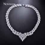 NEWBARK Silver Color Cubic Zircon Bridal <b>Jewelry</b> Necklace Leaf Shape Rhinestone Choker Necklaces for Women <b>Wedding</b>