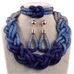 Factory direct selling top <b>fashion</b> royal navy blue mesh <b>jewelry</b> sets N1014