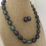 13-14mm tahitianoque bar black grey pearl necklace &<b>earring</b> 925silver