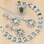 925 Sterling <b>Silver</b> Jewelry Olive Green Cubic Zirconia Jewelry Sets For Women Earrings/Pendant/Necklace/Rings/<b>Bracelet</b>