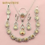 WPAITKYS Champagne Semi-precious Stone <b>Silver</b> Color Jewelry Sets For Women Anniversary Necklace Earrings <b>Bracelet</b> Ring Free Box