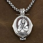 925 Sterling <b>Silver</b> Openable Virgin Mary JESUS Red CZ Mens Biker Pendant 9F006 (<b>Necklace</b> 24inch)