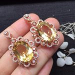 Fine Jewelry S925 solid sterling <b>silver</b> Natural Citrine Gemstone Female Pendant <b>Necklace</b> for women fine pendant <b>necklaces</b>
