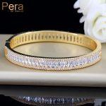 Pera Luxury Indian Dubai Bridal Wedding Gift Big Cubic Zircon Vintage Baguette Bracelet Bangle Gold Color <b>Jewelry</b> For Women Z010