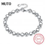 MUTO Original Round Zircon Women 925 Sterling <b>Silver</b> <b>Bracelet</b> pure <b>silver</b> Bangles female Fine Jewelry SVSZ3928