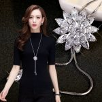 Free shipping! <b>Fashion</b> elegant sweater chain long crystal snow pendant water drop accessories long decoration necklace <b>jewelry</b>