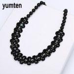 Yumten Black Agate Necklace Black Crystal Fashion Women Bead Chain Popular Classic Pendant Exquisite <b>Handmade</b> <b>Jewelry</b> Amethyst
