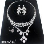 HERMOSA jewelry New Gorgeous Water droplets Zircon 925 Sterling <b>Silver</b> wedding jewelry Necklace <b>bracelet</b> earring ring set TZ363