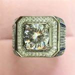 YANHUI Original Men <b>Jewelry</b> Pure 925 Silver <b>Wedding</b> Rings For Men Full CZ Zircon 8mm Main Stone Luxury Ring Size US#7-13 ZR225