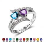Custom Rings Personalized Heart Birthstone <b>Jewelry</b> 925 Sterling Silver Rings For Women Engrave Name Free Gift Box (RI102499)