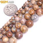 "Gem-inside 4-10mm Natural Round Brown Semi Precious Venus Jasperss Stone Beads For <b>Jewelry</b> <b>Making</b> Beads 15"" DIY Beads Bracelet"