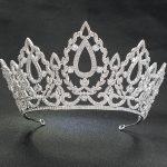 9.2cm Height Big CZ Cubic Zirconia <b>Wedding</b> Bridal Silver Tiara Diadem Crown Women Girl Prom Party Hair <b>Jewelry</b> Accessories HG215