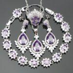 Christmas Purple CZ <b>Silver</b> 925 Costume Bridal Jewelry Sets For Women Earrings/Rings/Pendant/Necklace/<b>Bracelets</b> Free Gift Box