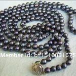 Pearl Necklace <b>Jewelry</b> noble all-match woman 7-8mm Black Akoya Cultured Pearl long Necklace Fashion <b>Jewelry</b> <b>Making</b> Design 55″