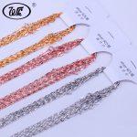 WK 3 Colors 10 PCS LOT 925 <b>Silver</b> Chain Necklace <b>Jewelry</b> Wholesale Lots Bulk 0.8MM Rose Gold Color Golden Chain 40CM 45CM NA026