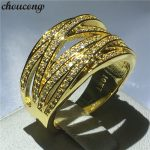 choucong 2018 cross ring 10KT Yellow Gold Filled Engagement <b>Wedding</b> Band Rings For Women Pave setting 5A zircon cz <b>Jewelry</b> Gift