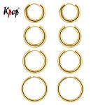 Kpop Hoop Earrings Set Simple <b>Jewelry</b> Gold/Silver Color Big Thick Circle Hoop Earrings for Women Size 10mm 14mm 16mm 20mm 4GE33