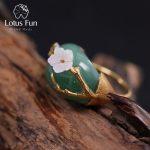 Lotus Fun Real 925 <b>Sterling</b> <b>Silver</b> Natural Pink Green Stones Original Handmade Design Fine <b>Jewelry</b> Plum Flower Riings for Women