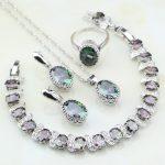 Crown Mystic Rainbow Zircon 925 Sterling Silver Bridal <b>Jewelry</b> Sets For Women Party <b>Necklace</b>/Earring/Pendant/Ring/Bracelet