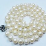 New fashion long chain <b>jewelry</b> <b>making</b> 8-9mm natural white freshwater cultured round pearl beads necklace gift party 25inchMY5012