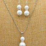 Prett Lovely Women's Wedding New 8-12mm white Sea shell Pearl Wedding Pendants Necklace & Earrings Set AAA