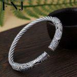 FNJ 925 <b>Silver</b> Rope Bangle Vintage Open Size 56mm Adjustable Original S990 <b>Sterling</b> <b>Silver</b> Bangles for Women <b>Jewelry</b> 7mm