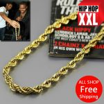 JHNBY High quality Gold-color 76cm Long Twisted Men Hiphop Rope Chain statement <b>Necklace</b> Fashion <b>Jewelry</b> bijouterie