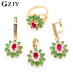 GZJY Fashion <b>Jewelry</b> Flower Champagne Gold Color Green&Red AAA Cubic Zirconia Nacklace Pendant Earrings Ring Set